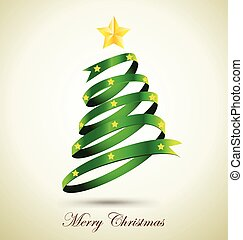 Green Ribbon Christmas Tree With Gold Star