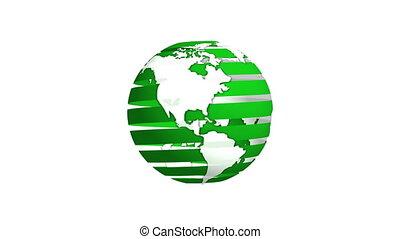 Green Ribbon Earth Rotating