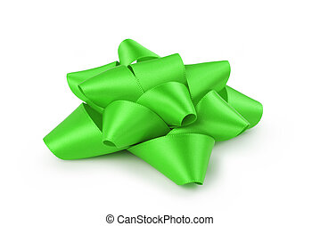 green ribbon gift bow isolated on white