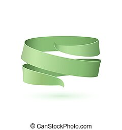 Green ribbon isolated on white background.