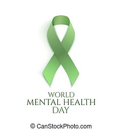 Green ribbon isolated on white. World mental health day...