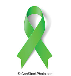 Green ribbon. - Kidney cancer awareness green ribbon on...