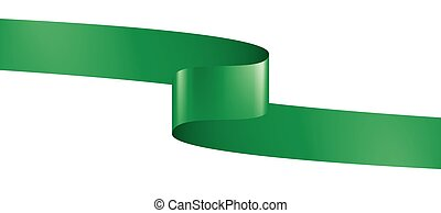 green ribbon on white background. Vector illustration