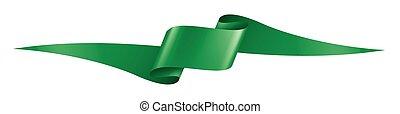 green ribbon on white background. Vector illustration