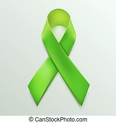 Green ribbon sign isolated on white background.