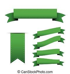 Green ribbon vector set