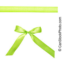 Green ribbon with a bow isolated on white background