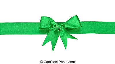 Green ribbon with bow