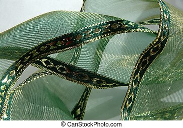 Green ribbon with gold