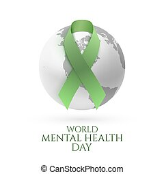 Green ribbon with monochrome earth icon.