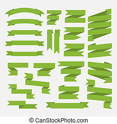 Green  ribbons set isolated on white background.Vector
