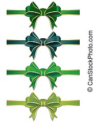 Green ribbons set with bows to St. Patricks Day