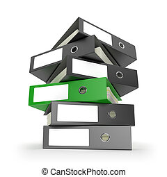 Green Ring Binder - Ring binders on white desktop. Computer...