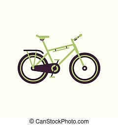 Green road bike, modern bicycle vector Illustration