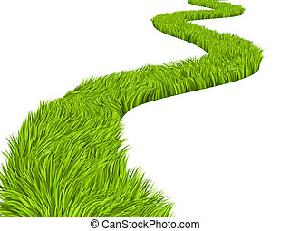 Green road - Conceptual image - road with bright green grass