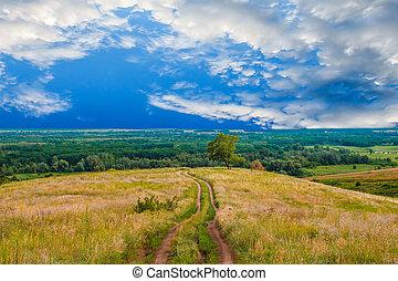 green road grass landscape field summer sky tree blue nature rural cloud spring