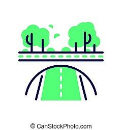 Green Road - modern vector single line icon