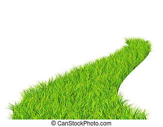 Green road - Road with bright green grass. Isolated over...