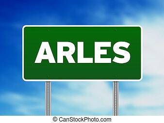 Green Road Sign -  Arles, France