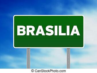 Green Road Sign - Brasilia