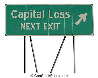 Green road sign capital loss