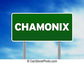Green Road Sign -  Chamonix, France