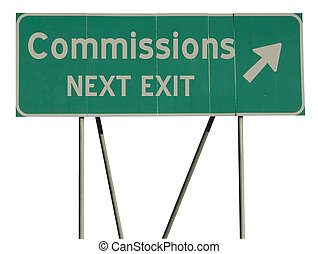 Green road sign commissions - Isolated green road sign on a...
