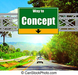 Green Road Sign concept and landscape background.
