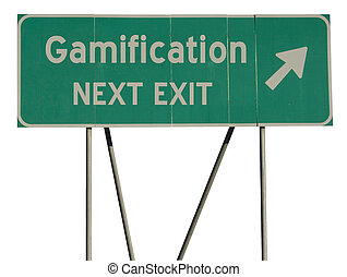 Green road sign gamification - Isolated green road sign on a...