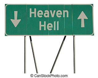 Green road sign heaven hell