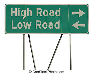 Green road sign high low road