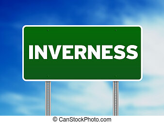 Green Road Sign -  Inverness, England