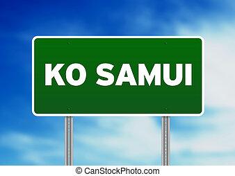 Green Road Sign - Ko Samui, Thailand