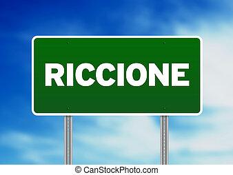 Green Road Sign - Riccione, Italy