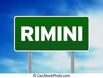 Green Road Sign - Rimini, Italy