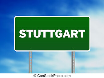Green Road Sign - Stuttgart