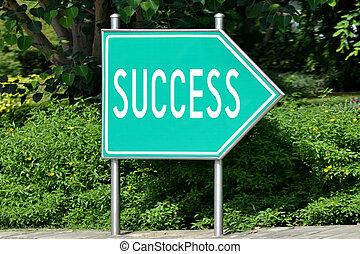 Green road sign - success