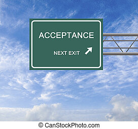 Green Road sign to acceptane