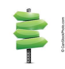green road signs illustration design