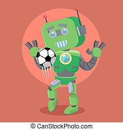 green robor juggling football