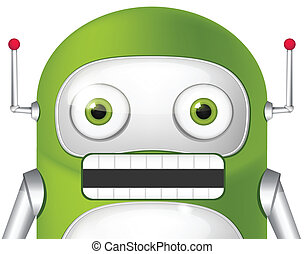 Green Robot - Cartoon Character Cute Robot. Angry Avatar. ...