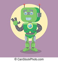 green robot illustration design