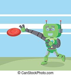 green robot running catching