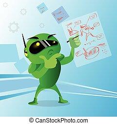 Green Robot Wear Digital Glasses Holding Hand Chin Pondering Doubtful Application Development Programming Flat