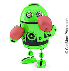 Green robot with blue boxing gloves. Isolated. Contains clipping path.