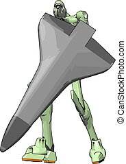 Green robot with shield, illustration, vector on white background.