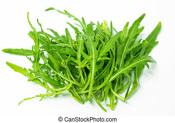 Green rocket leaves on white background