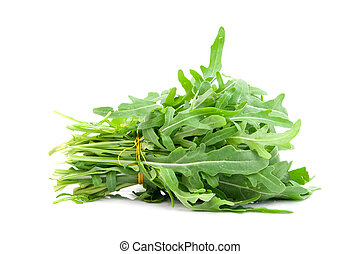 roquette - green rocket or roquette leaves isolated on white