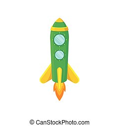 Green rocket with yellow stripes. Vector illustration on white background.