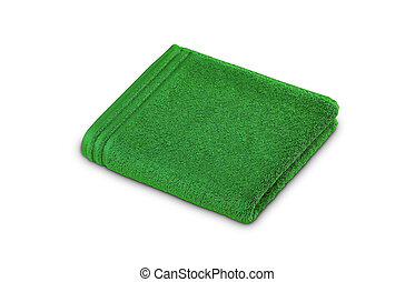 Green rolled up towel over white background